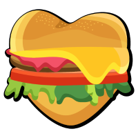 I Love Burger Heart Fast Food