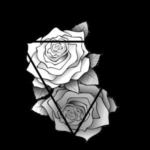 Retro Schwarz Weiß Rosen Hipster Dreieck
