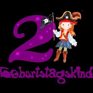 2 Jahre Geburtstagskind Pirat Mädchen Geburtstag