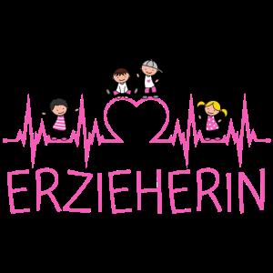 Erzieherin Herzschlag Herz Kinder Beruf EKG pink