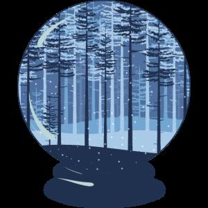 Magischer Platz in der Natur - Schneekugel