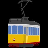 Straßenbahnwagen gelb