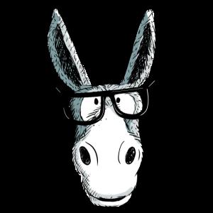 Lustiger Grauer Nerd Esel Mit Brille I Comic