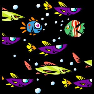 Bunte Fische Cartoon