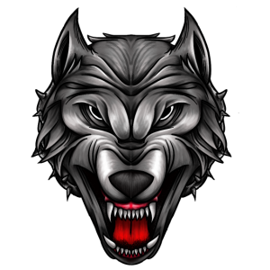 Künstlerischer Wolfskopf Wolfkin