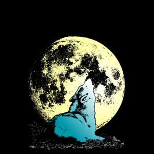 Heulender Wolf zum Mond Wolfkin