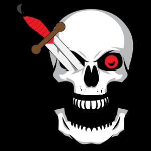 Halloween - Schädel mit Messer in einem Auge