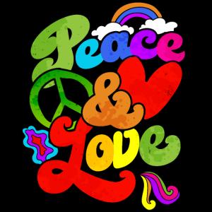 Peace and Love Hippie 60s 70s Geschenk
