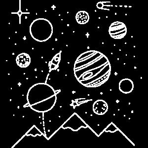 Planeten im Sternenhimmel weiß