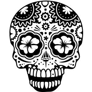 Ein lachender Totenkopf im Stil der Sugar Skulls