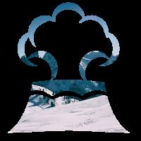 Eisberg Vulkan doppelbelichtung