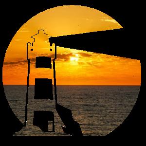 Leuchtturm am Meer doppelbelichtung