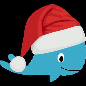 Wal mit Nikolaus Mütze zu Weihnachten