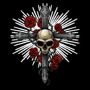 Totenkopf Kreuz | Rosen Tod Religion Musik Dornen