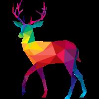 Hirsch bunt farbig Regenbogen