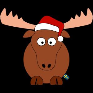 süßer Elch mit Mütze | Weihnachten Schwedenflagge