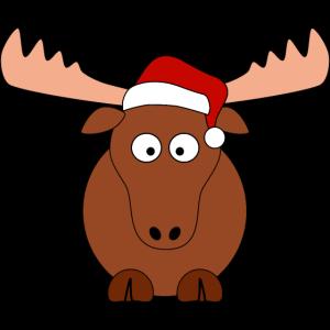 süßer Elch mit Weihnachtsmütze