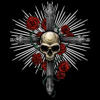 Kreuz mit Totenkopf und Rosen