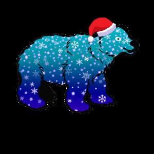 Eisbär Schneefall Weihnachtsmütze Weihnachten