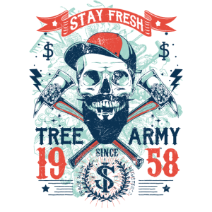 Baum Armee-Shirt Skull Totenkopf-Shirt