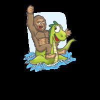 Bigfoot Riding Nessie Big Foot und Loch Ness