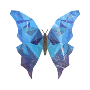 Ausgewaschener blauer Schmetterling