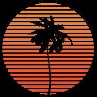 Palme Sonnenuntergang Urlaub Meer Strand Surfen