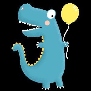 Dinosaurier mit Ballon I Geburtstag Geschenk