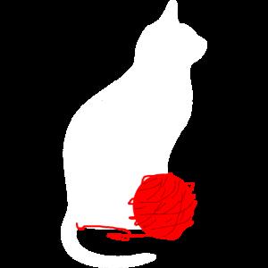 weiße Katze mit Wolle