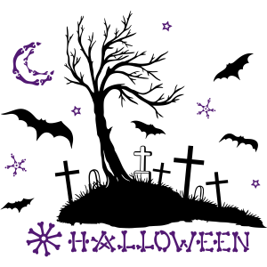 Halloween Friedhof Fledermäuse Nacht Knochen