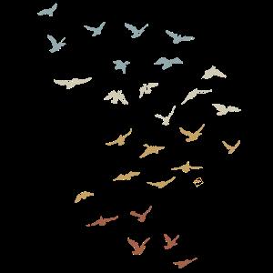 Retro Vogel Schwarm Traum Fliegen Vintage Geschenk