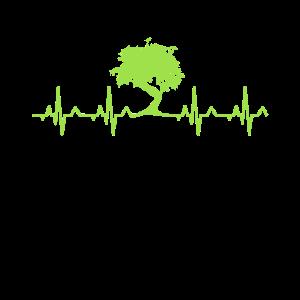 Grünes Bonsai Heartbeat T-Shirt, Geschenk Shirt für