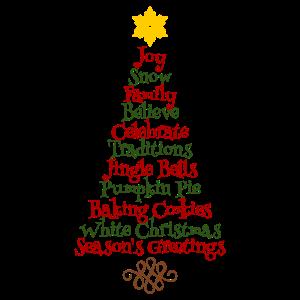 Weinachtsbaum Wörter Englisch Geschenk Stern Xmas