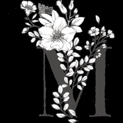 Buchstabe M - Schönes und künstlerisches Motiv mit deinem Anfangsbuchstaben. - thisisnotabrand,schön,hip,filigran,dekorativ,cool,Weihnachten,M,Kreativität,Kreativ,Illustration,Hipster,Geschenkidee,Geschenk,Geburtstag,Buchstabe,Blüte,Blumen,Anfangsbuchstabe