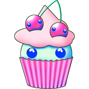 Sweet muffins with pink cherry and eyes