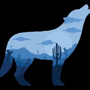 Heulender Wolf bei Vollmond | Silhouette Geschenk