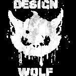 Grunge Wolf Head - White