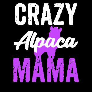 Verrückte Alpaka-Mutter lila, lustiges Alpaka, Alpaka-Geschenke