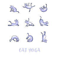 cat yoga blau katze kitty miau humor frech om illu