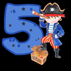 5 Jahre Geburtstag Kind Pirat Junge Schatzsuche