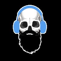 Totenkopf mit Kopfhoerer