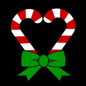 Christmas Weihnachten mit Zuckerstangen aus Herz