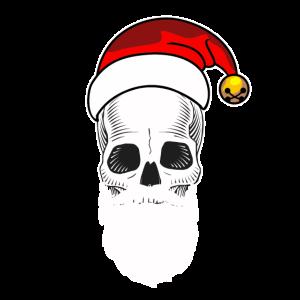 Totenkopf mit Bart und Weihnachtsmuetze