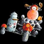 Milchexpress - Motorrad - Kuh - Cartoon