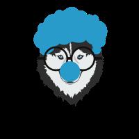 Alaskischer Husky Dog Clown Face Halloween