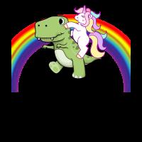 Niedliches Einhorn-Reitbaby T Rex Regenbogen
