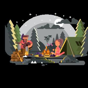 Lagerfeuer mit Zelt und Freunden.