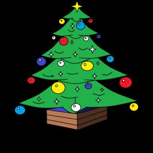 Frohe Weihnachten Schriftzug mit Weihnachtsbaum