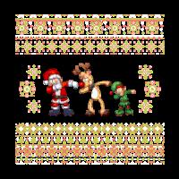 Abtupfendes Sankt hässliches Weihnachtshemd, das Ren-Elf tupfend ist