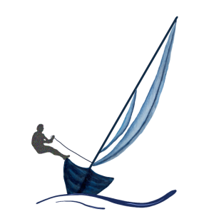 Segelboot mit Segler blau